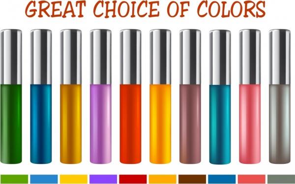 cosmetics advertising banner colorful shiny decor bottles icon