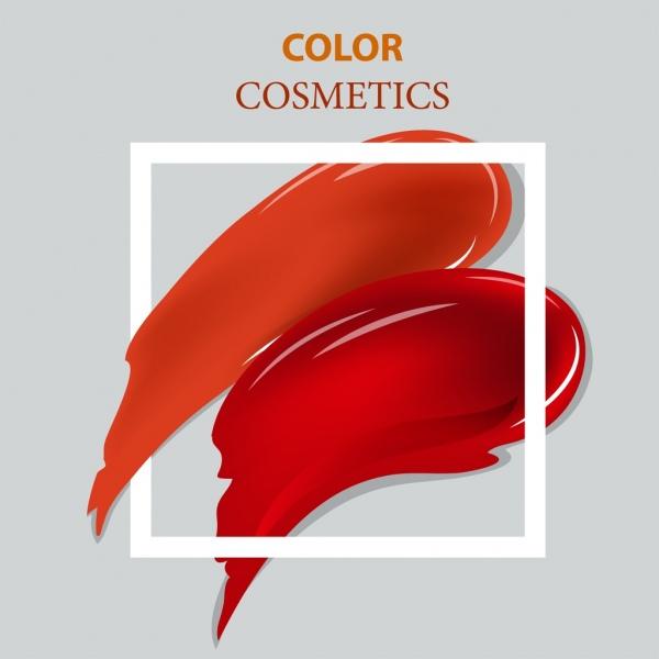 cosmetics advertising red splashing square frame decoration
