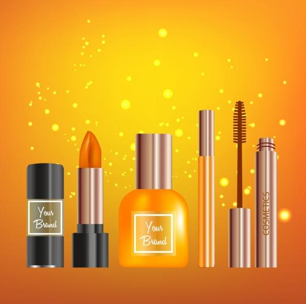 cosmetics advertising shiny realistic design