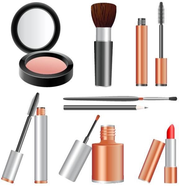 cosmetics tools icons shiny colored realistic design