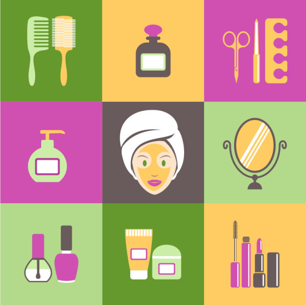cosmetology flat icons vectors