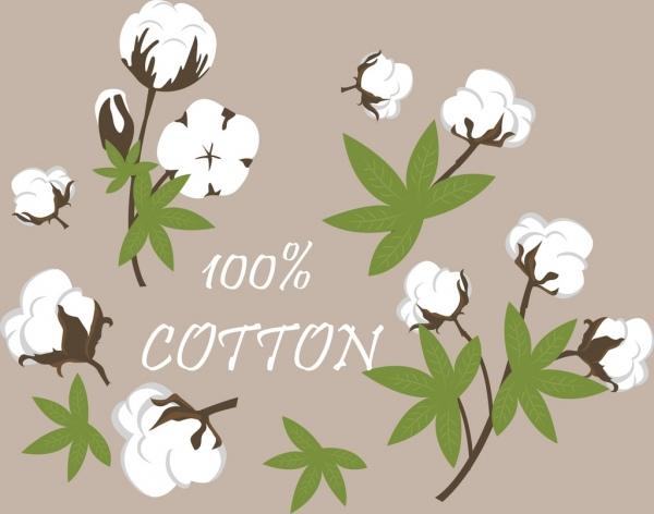 cotton product advertising flowers icons decoration