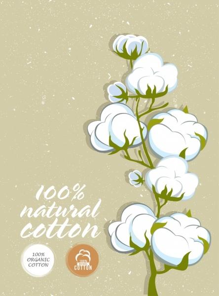 cotton product banner flower icon retro design