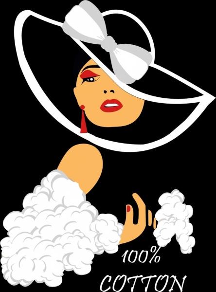 cotton products advertising elegant woman portrait decoration