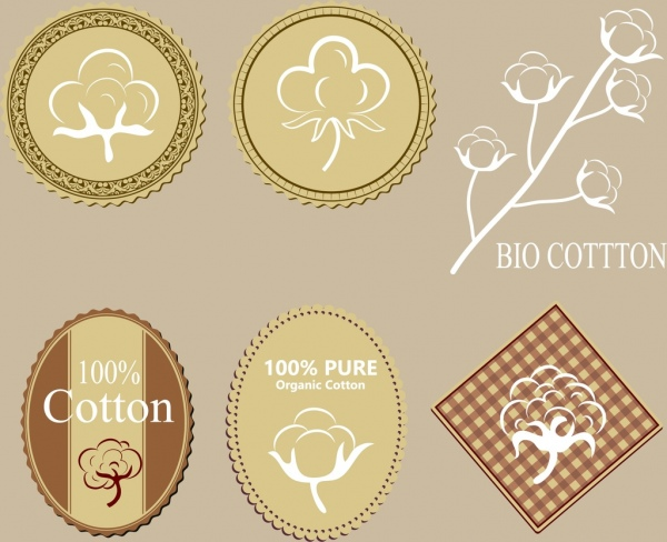 cotton products tags collection various classical shapes