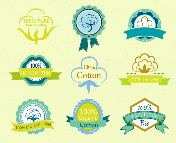 cotton tags collection various colored shapes isolation