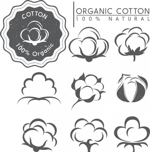 cotton tags design elements various retro flowers icons