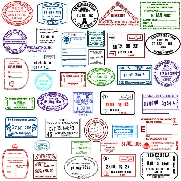 countries in the visa stamp vector