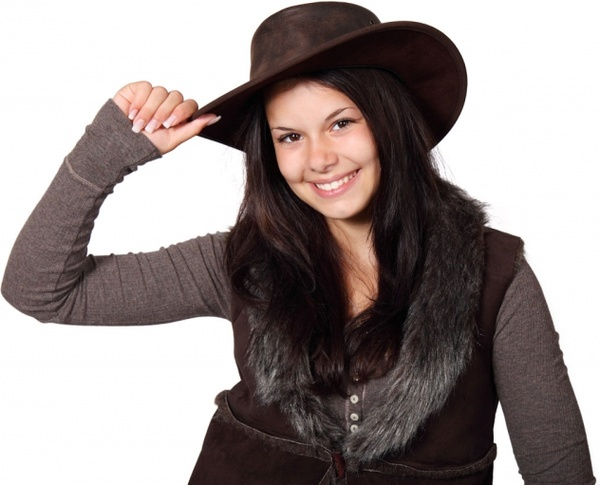 country girl with hat