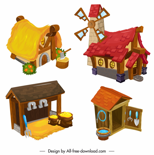 country houses icons colorful 3d sketch retro design