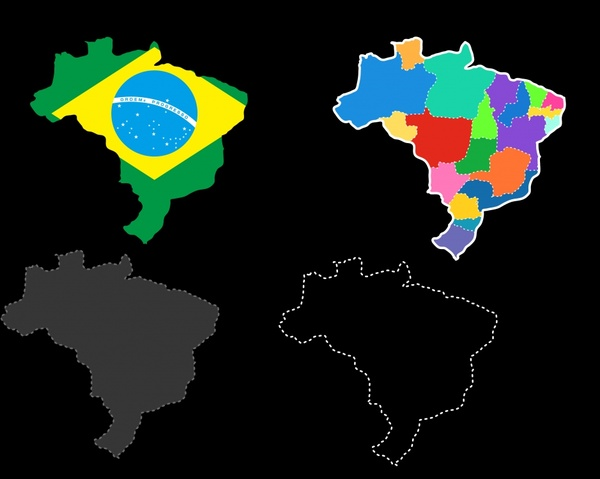 brazil map icons flat sketch flag area decor
