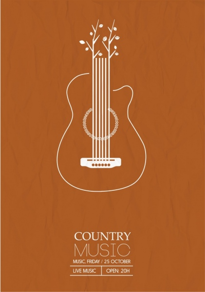 country music poster guitar tree icons flat design