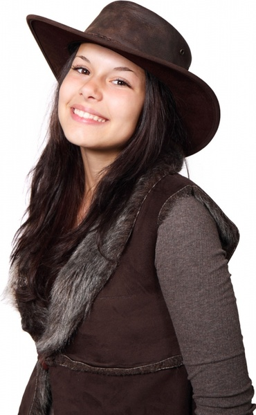 country woman with hat