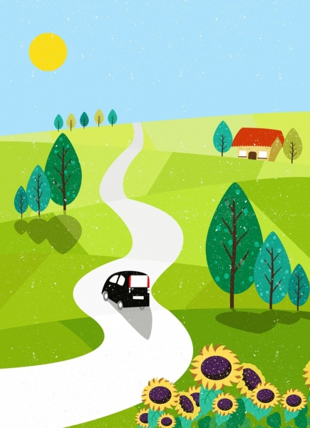 countryside drawing green hill pathway flowers tree icons