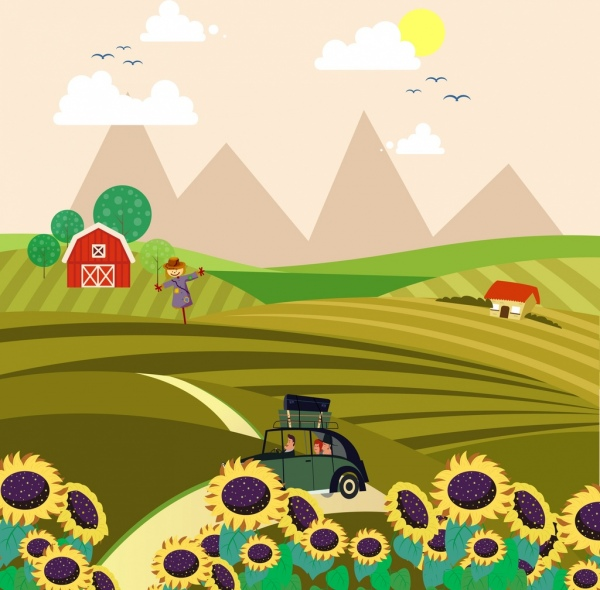 countryside landscape drawing field sunflowers car icons