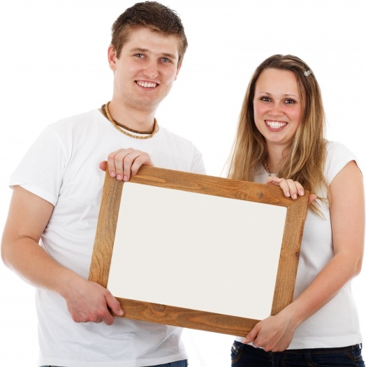 couple with blank frame