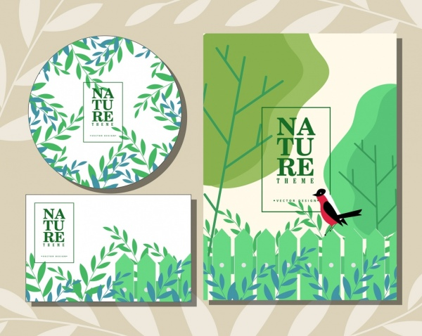 cover backgrounds nature theme green leaf bird icons