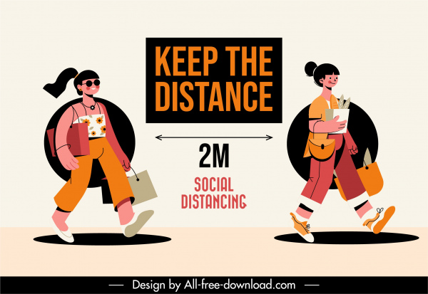 covid 19 poster distance instruction sketch cartoon design