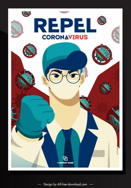 covid 19 poster doctor viruses sketch cartoon design