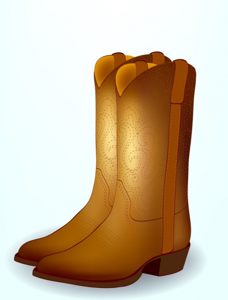 cowboy boots icons shiny brown design