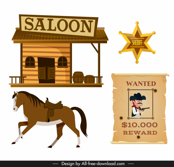 cowboy design elements saloon horse medal wanted sketch
