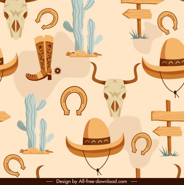 cowboy elements pattern flat classical symbols sketch