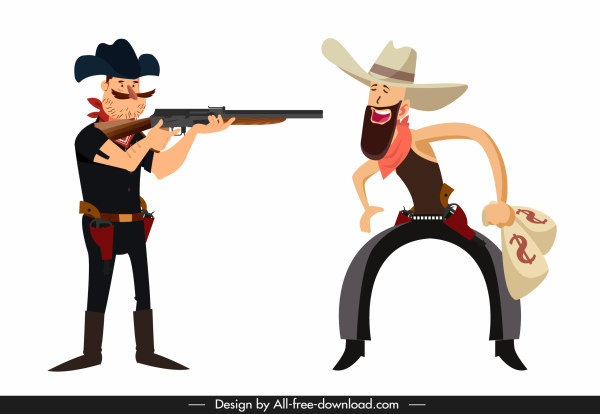 cowboy icons funny cartoon characters sketch