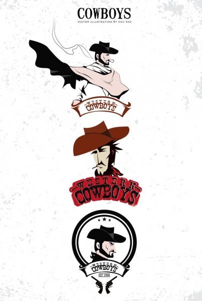 cowboy logo design elements man icon classical decor