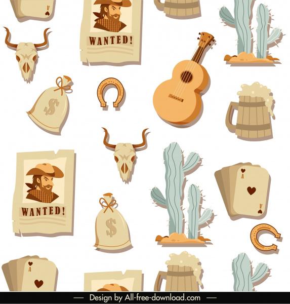 cowboy pattern retro wild west elements sketch