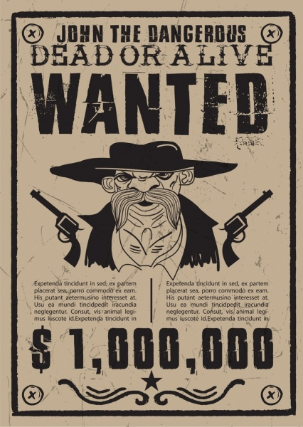 Cowboy wanted poster black white retro design Free vector in