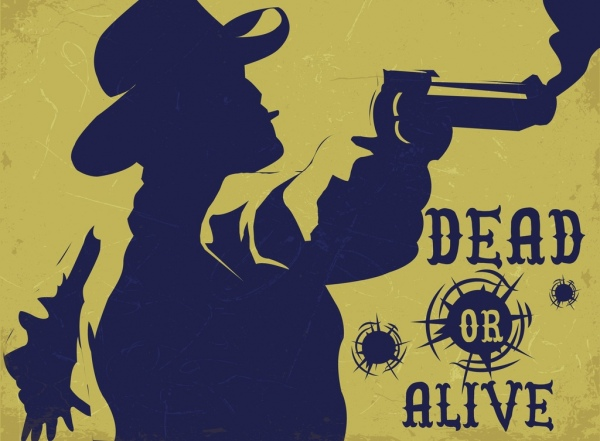 Cowboy wanted poster retro silhouette decor Free vector in