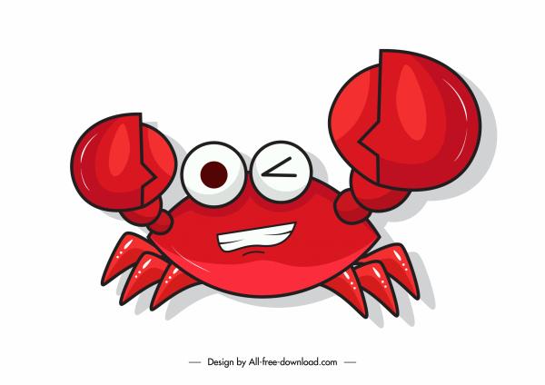 crab icon funny emotional sketch flat design