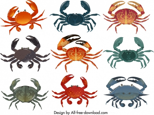crab icons collection multicolored design
