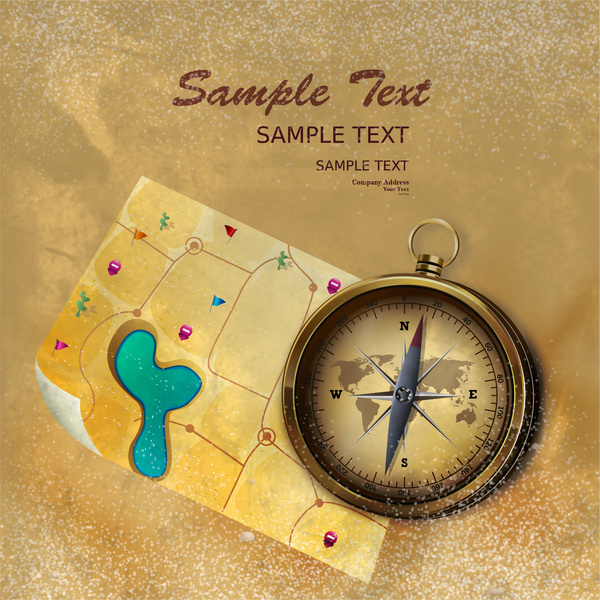 creasy yellow background design with map with compass
