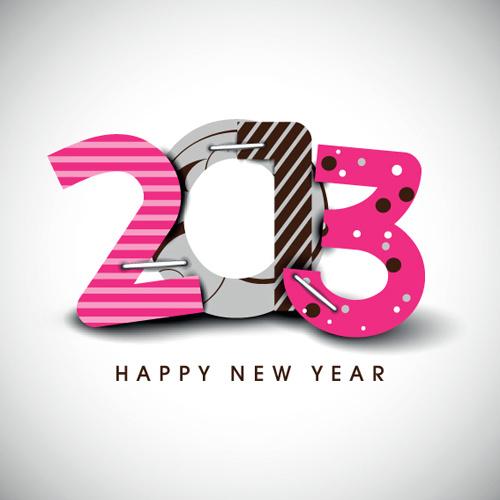 creative13 happy new year figures design vector set