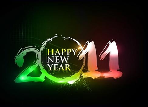2011 new year banner sparkling grunge texts decor