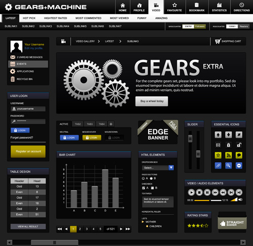 creative black template website vector design