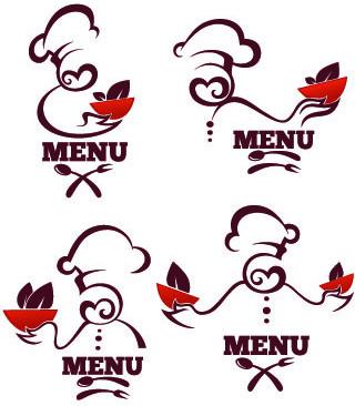 creative chef menu logos vector set