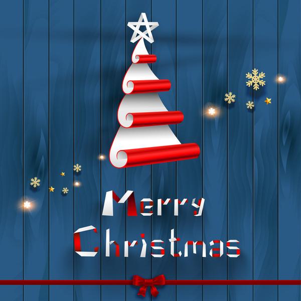 creative christmas tree on wood background