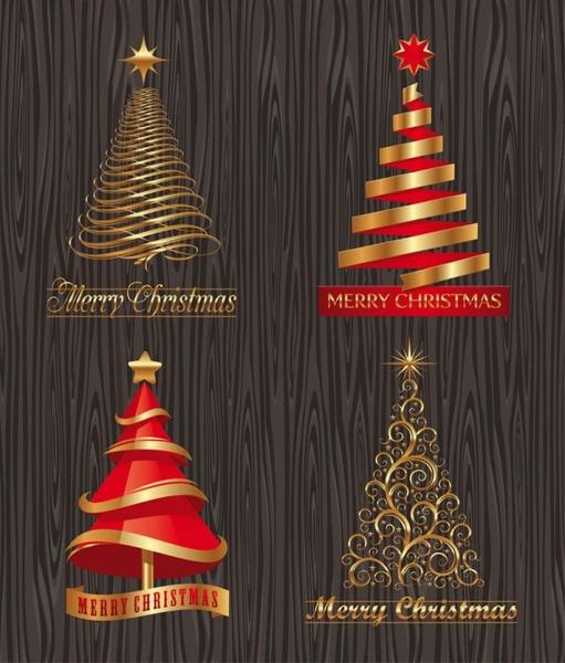 creative christmas trees vector