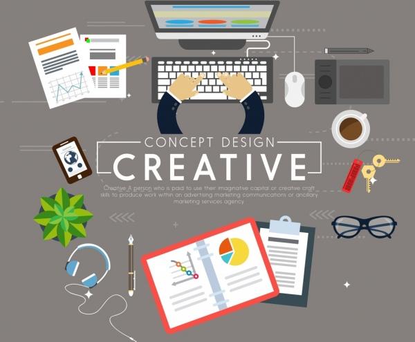 creative concept background office work design elements