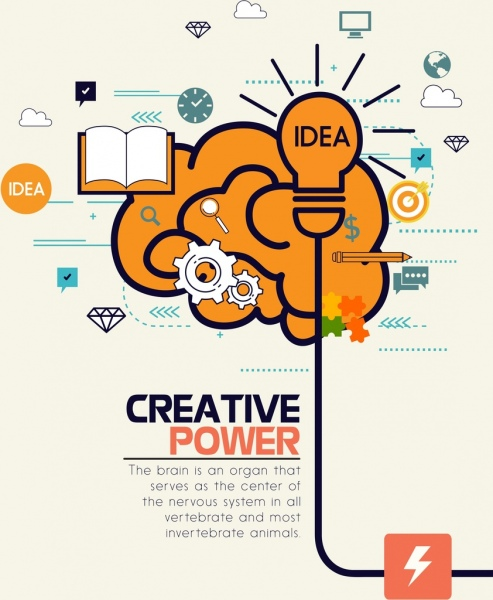creative concept banner lightbulb brain icons decor