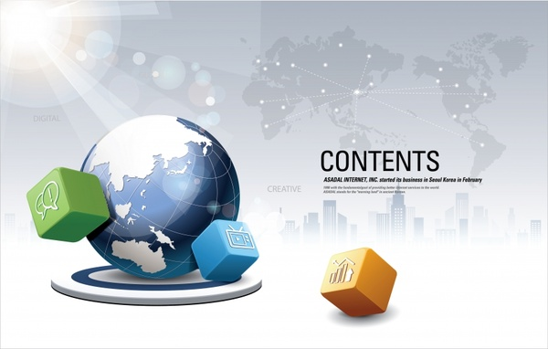 global business background shiny modern 3d cubes earth