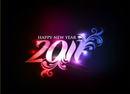 2011 new year banner sparkling dark numbers decor