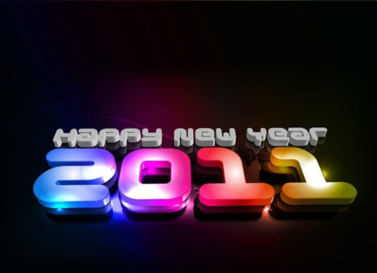 2011 new year banner modern colorful 3d texts