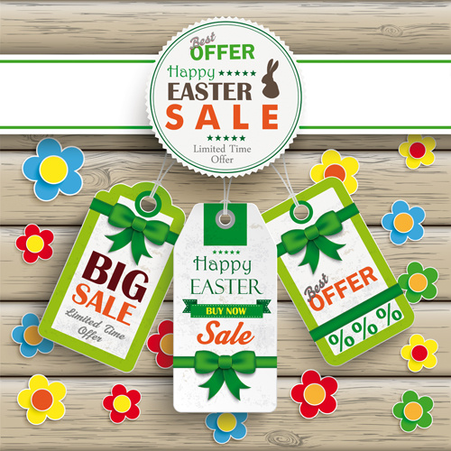 creative easter sale tags vectors