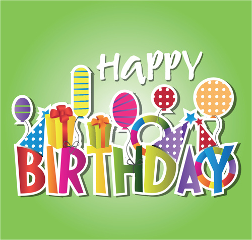creative happy birthday design elements vector art