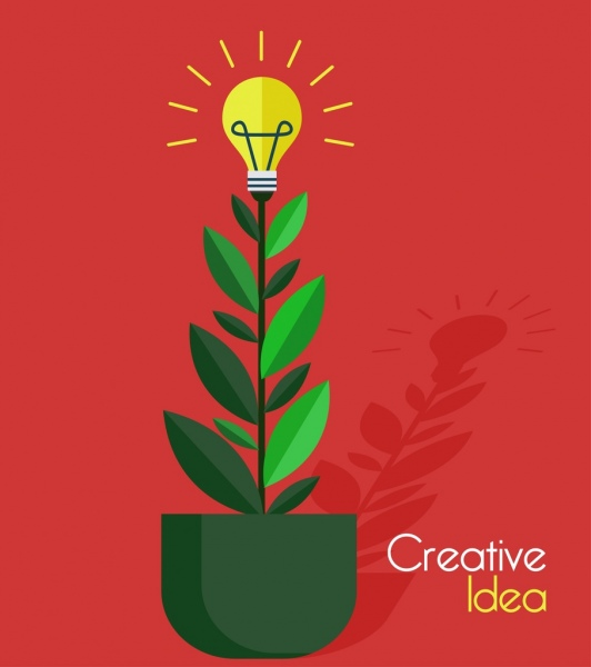 creative idea concept background growing tree lightbulb icons