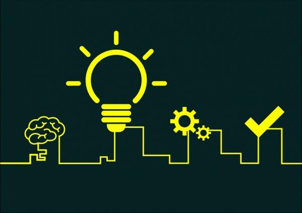 creative idea concept bulb brain gears silhouette decoration