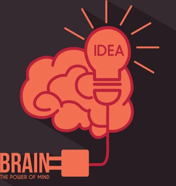 creative idea concept flat bulb brain plug icons